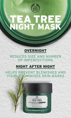 Wake up to clearer-looking skin! Our fresh and breathable Tea Tree Anti-Imperfection Night Mask is specifically formulated to care for oily skin and imperfections while you sleep. - Infused with Community Trade tea tree oil. The Body Shop, Body Shop Tea Tree, Body Shop At Home, Tea Tree Oil Uses, Tea Tree Oil For Acne, Vinegar For Acne, Body Shop Skincare, Anti Imperfection, Acne Spot Treatment