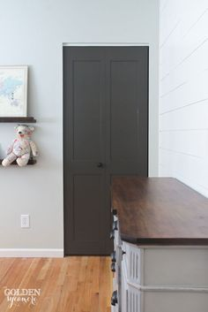 This closet door makeover all started from an accident. Happily, this newly updated DIY gray closet door adds the perfect amount of personality to our home! Cupboard Doors Makeover, Closet Door Makeover, Painted Interior Doors, Painted Doors, Entryway Closet, Closet Doors, Apartment Closet Organization, Double Sliding Barn Doors, Traditional Front Doors