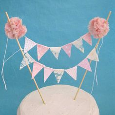 Cake topper, wedding, Blush Pink and Lace cake Banner G101 - shabby chic wedding cake bunting