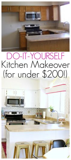 DIY Kitchen Makeover For Under $200   Click For More!