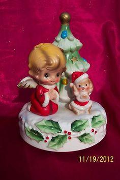 Vintage Josef Originals Music Box Christmas Angel, Dog & Tree Plays SILENT NIGHT | eBay