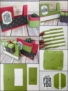 Gift Box In A Card! - Gift Box In A Card! Fancy Fold Cards, Folded Cards, Tarjetas Diy, Exploding Box Card, Gift Card Boxes, Card Card, Miss You Cards, Card Tutorials, Box Cards Tutorial