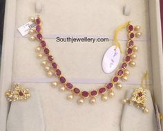 Ruby Necklace latest jewelry designs - Page 6 of 53 - Indian Jewellery Designs Light Weight Gold Jewellery, Gold Jewelry Simple, Ruby Necklace Designs, Ruby Jewelry, Bead Jewellery, Latest Jewellery, Indian Jewelry, Gold Necklace, Emerald Necklace