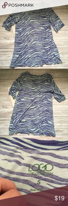 logo womens small lori goldstein zebra print elbow gently used   some pilling  qvc logo lori goldstein a225018   armpit to armpit = 19 inches  length = 30 inches logo Tops
