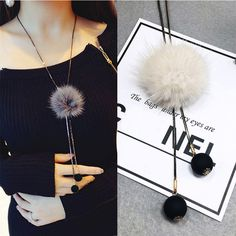 Fashion Winter Fury Pompom Ball Dangle Suspension Pendant Necklace Charms Statement Jewelry Sweater Chain for Women Girls Gift