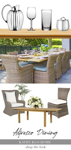 During the summer time, enjoying lunch or dinner outside is always a good idea. Take your alfresco dining experience to the next level with Kathy Kuo Home's curated assortment of outdoor dining must haves. If you're in search of tips on how to throw an alfresco dinner party, start with shopping for the perfect outdoor dining sets, seasonal dishes and serving accessories, table linens, and more to transform your patio, deck, porch, or garden into a foodie haven. Outdoor Dining Set, Dining Sets, Outdoor Spaces, Outdoor Living, Outdoor Furniture Sets, Outdoor Decor, Al Fresco Dining, Patio Chairs, Table Linens