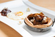 National Honey Board Recipe: Root Beer Pork Belly and Honey Onion Jam Popover