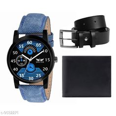 Watches (Black) Belt, Wallet & Watch Combo Strap Material: Leather Display Type: Analogue Size: Free Size Multipack: 2 Country of Origin: India Sizes Available: Free Size   Catalog Rating: ★4 (519)  Catalog Name: Classic Men Watches CatalogID_1680122 C65-SC1232 Code: 762-9532271-765