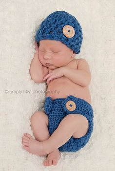 The Hunter Beanie in Blue with Matching Diaper Cover in 0-3 Month Size- READY TO SHIP