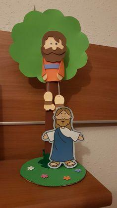 Manualidad de Zaqueo, los niños pagarán, árbol y a Jesús  con velcro.