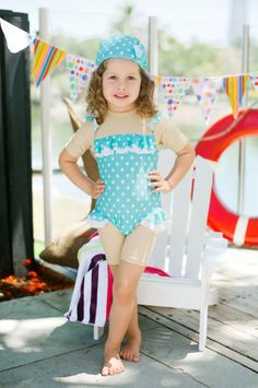 Adorable kids swimwear from Little Valentine - great for hot summers, protects their little arms & legs from the sun but still looks good! #kids #swimwear