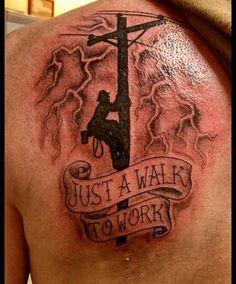 Wood walker Lineman Wife, Power Lineman, Lineman Tattoo, Storm Tattoo, Cool Tats, Tattoo Inspiration, Sleeve Tattoos, Tatting, Body Art
