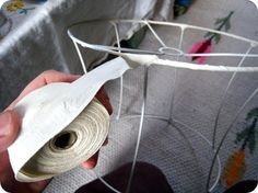 Lampshade tutorial.  The traditional way to cover a shade neatly in the fabric of your choice, with no inside lining.
