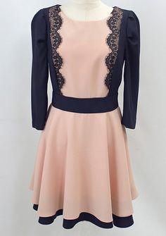 Pink Contrast Black Sleeve Lace Ruffle Dress US$26.60