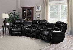 Laredo Modern Full Bonded Leather Black Reclining Sectional