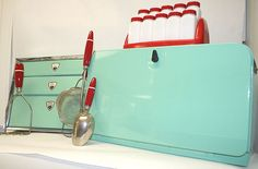 Retro Recycled Kitchen Stuff. OMG - I just died and went to red and aqua vintage heaven!!!