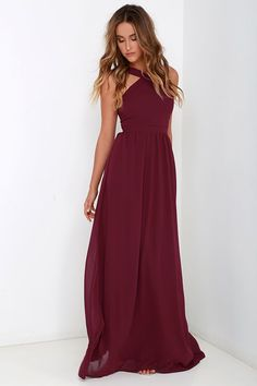 Air of Romance Burgundy Maxi Dress - Lizzie Bastian. Halter Bridesmaid  DressesBurgundy ... a31873579f1f