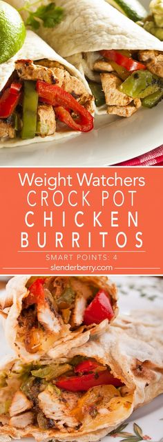 Crock Pot Chicken Burritos - Slenderberry - Weight Watchers Slow Cooker Mexican Chicken Burritos Dinner Recipe with kidney beans, tomatoes, oni - Slow Cooker Huhn, Slow Cooker Recipes, Crockpot Recipes, Chicken Recipes, Healthy Recipes, Ww Recipes, Dinner Crockpot, Weight Watchers Diet, Weight Watcher Dinners