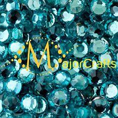 MajorCrafts 1000pcs Turquoise Blue 5mm ss20 Flat Back Round Resin Rhinestones
