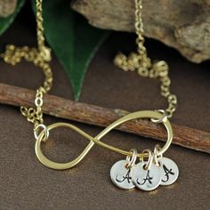 Personalized Gold Infinity Necklace, Gold Initial Necklace, Figure Eight Jewelry, Bridesmaid Gifts, Bridal Jewelry, Mother's Necklace by AnnieRehJewelry on Etsy Infinity Pendant, Infinity Necklace, Initial Necklace Gold, Hand Stamped Jewelry, Gold Filled Chain, Bridesmaid Gifts, Bridal Jewelry, Initials, Silver
