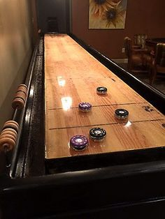 The Handcrafted Champions Bank Shot Shuffleboard Table Offers A Size To  Accommodate Most Game Rooms And Also Has Added Features Like Bumpers And Hau2026
