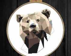 Brown Geometric Bear cross stitch pattern Modern by ThuHaDesign