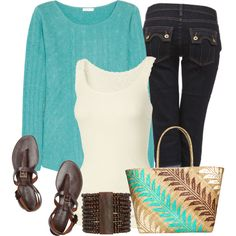 Turquoise Sweater, created by melindatg on Polyvore