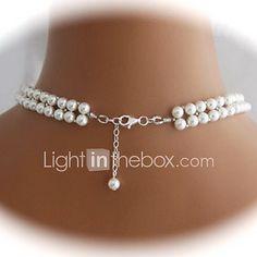 1599c321a30f Mujer Strands Collares Collar con perlas Forma de Corazón en forma de V Perla  Perla Artificial Nupcial Europeo Elegant Blanco Joyas Para