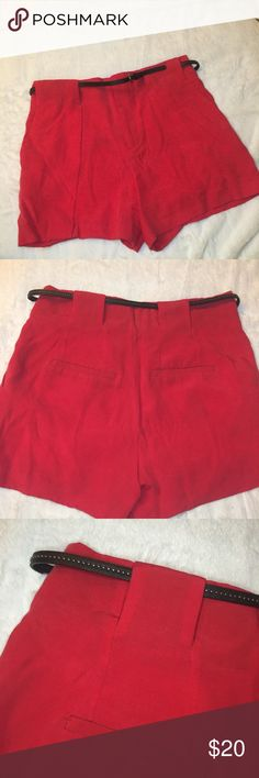 """Zara Basic High Waisted Red Shorts Zara basic high waisted red trouser shorts. Excellent condition. 3"""" inseam and 12"""" rise. Size small. Comes with a cute thin black belt with studs. Zipper closure and front and back pockets Zara Shorts"""
