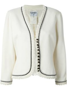 Chanel Pre-Owned Passementerie Jacket Casual Outfits, Fashion Outfits, Womens Fashion, Collarless Jacket, Chanel Jacket, Passementerie, Embroidered Jacket, Jacket Pattern, Vintage Jacket