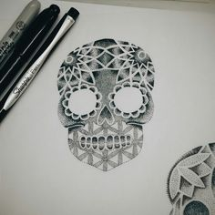 Sugar skull design #blackspottattoocompany #dotwork #sharpie #sketches #sacredgeometry