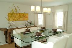 Modern White and Brown Dining Room