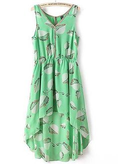 Summer Essential V Neck High Low Dress Green