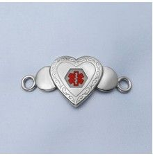 Decorative Stainless Heart Medical ID Plaque for Bracelets 1 5/8 Inch