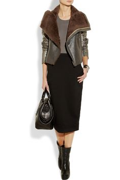 Rick Owens| Metallic leather and shearling biker jacket, skirt, Cotton-jersey tank and boots