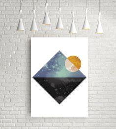Abstract poster, sun poster, textured print,sun print, geometric wall art, modern scandinavian print, minimalist wall decor, sea and sun