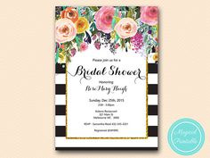 Shabby chic Floral Bridal Shower Invitation by MagicalPrintable