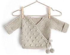 the basics of a baby bra - La Grenouille Tricote facile bebe layette Kimono Pattern Free, Baby Cardigan Knitting Pattern Free, Crochet Baby Jacket, Baby Sweater Patterns, Knitted Baby Cardigan, Knit Baby Sweaters, Baby Knitting Patterns, Baby Patterns, Free Pattern