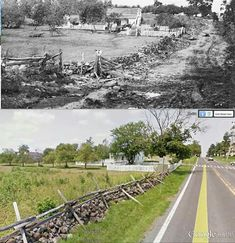 Meade's Hq's then and now, Gettysburg.
