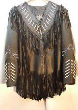 Leather Gallery Ladies Black Leather Fringe Jacket Silver Studs Biker Indian 211