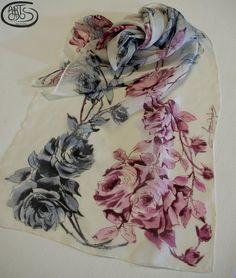 Pañuelo de seda natural 100%  Chifón pintado a mano. por Artodos