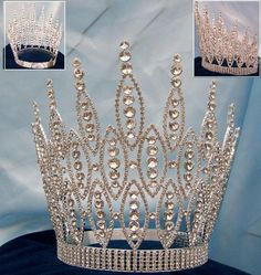 Queen of The Seven Seas RHINESTONE BEAUTY PAGEANT RHINESTONE CROWN TIARA 9 inches tall