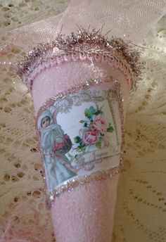 Shabby Bottle Brush Tree Pink Teacup and Roses by IllusiveSwan