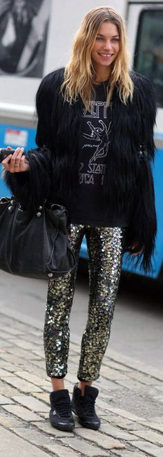 Sequin Skinny Pants