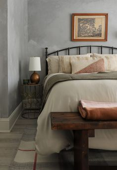 Bedroom Reveal & Tips for applying Limewash to a Textured Wall Headboard And Footboard, Headboards For Beds, I Spy Diy, Chest Furniture, Amazon Home, Cozy Room, Bedroom Wall, Master Bedroom, Wall Treatments