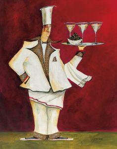 Martini Chef by Jennifer Garant Renoir, Graphic Prints, Art Prints, Plus Size Art, Poses, Kitchen Art, Wood Print, Caricature, Impressionist