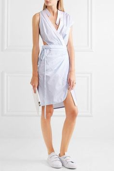 Alexander Wang - Cutout Striped Cotton-poplin Wrap Dress - White - US