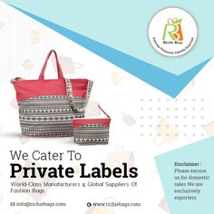 We do private labels also Promotional Bags, Jute Bags, Private Label, Cotton Bag, Canvas Tote Bags, Fashion Bags, Anchor, Catering, Shopping Bag
