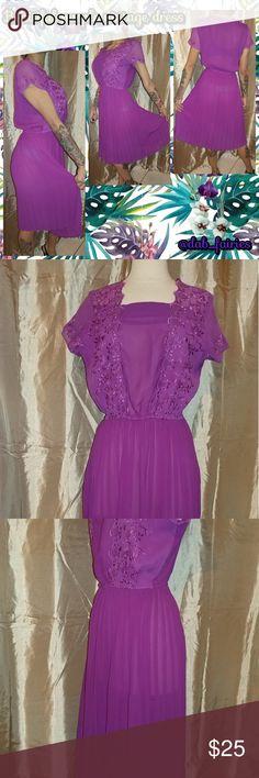 Beautiful purple vintage dress Beautiful purple vintage dress. Size medium. Message for more details or offers. Thank you for looking. #vintage #purple #sizemedium #elasticwaist #80s #sheer #beautiful Vintage Dresses