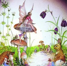 Fairy folklore has been around for centuries. Many people actually believe fairies exist in another realm that is invisible to the naked eye. Fairy Paintings, Cross Paintings, Alfabeto Animal, Dragons, Fable, Mushroom Art, Fairy Pictures, Vintage Fairies, Flower Fairies